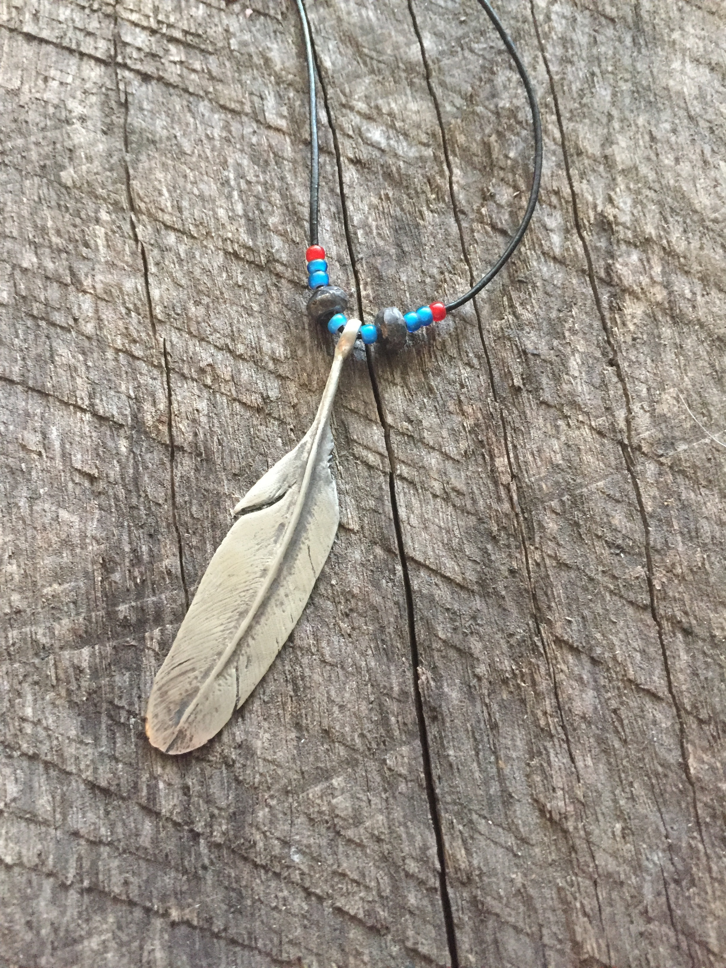 Sterling Silver Feather and Custom Beads with Glass Beads, Rustic Black Finish