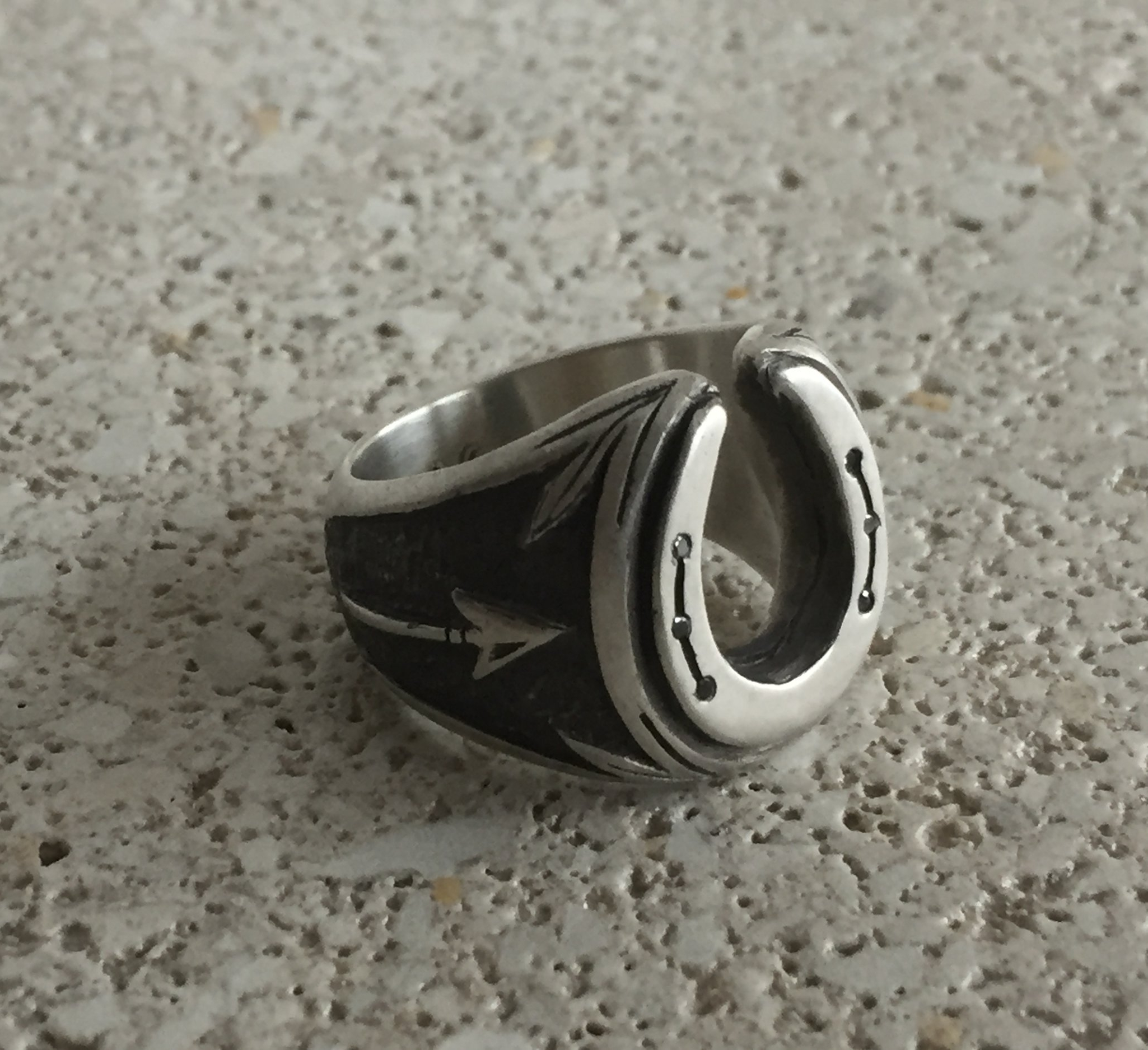 Customized Horseshoe Ring: Matte Sterling Silver with Arrow, Rustic Black Finish and Black Diamonds