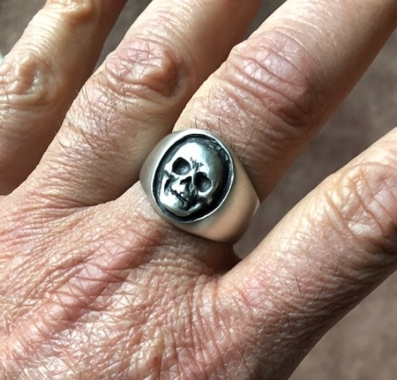Customized Skull Signet: Sterling Silver with Rustic Black Finish