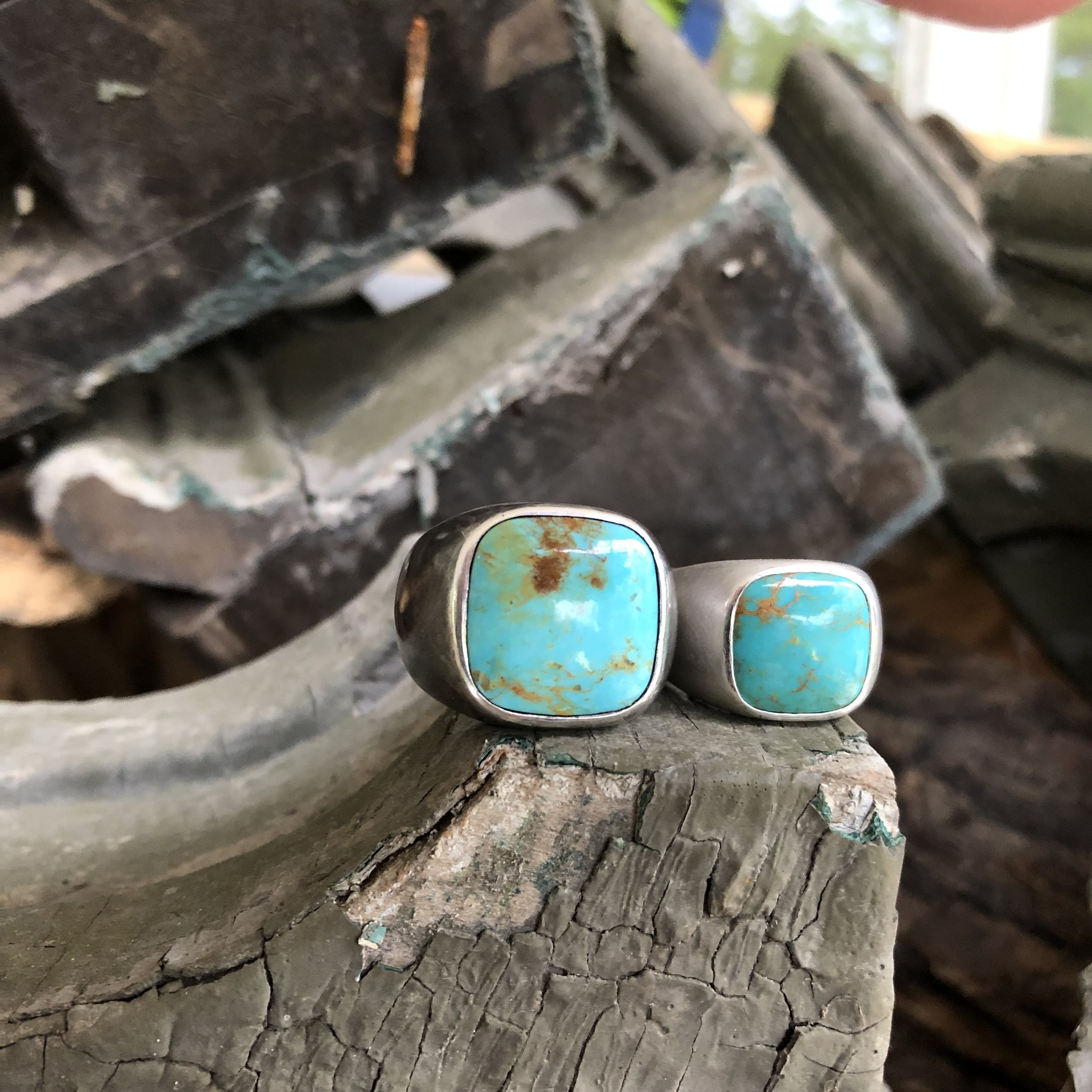 Custom Square Cabochon Turquoise Rings:  American Mined Stones in Solid Sterling Silver with Rustic Black Finish