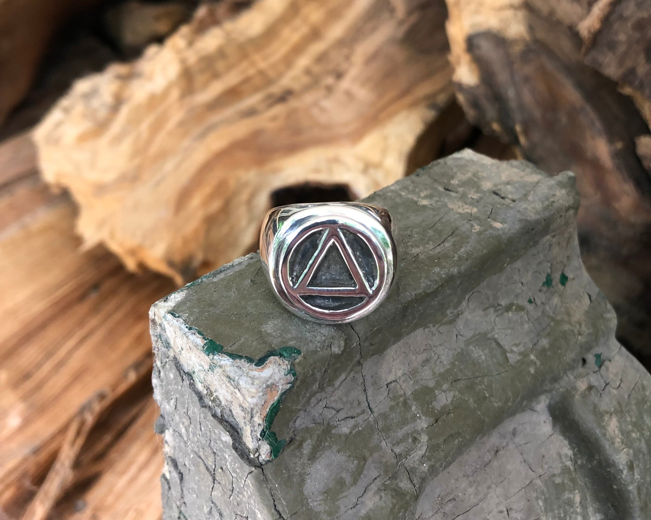 Polished Sterling Silver with Rustic Black