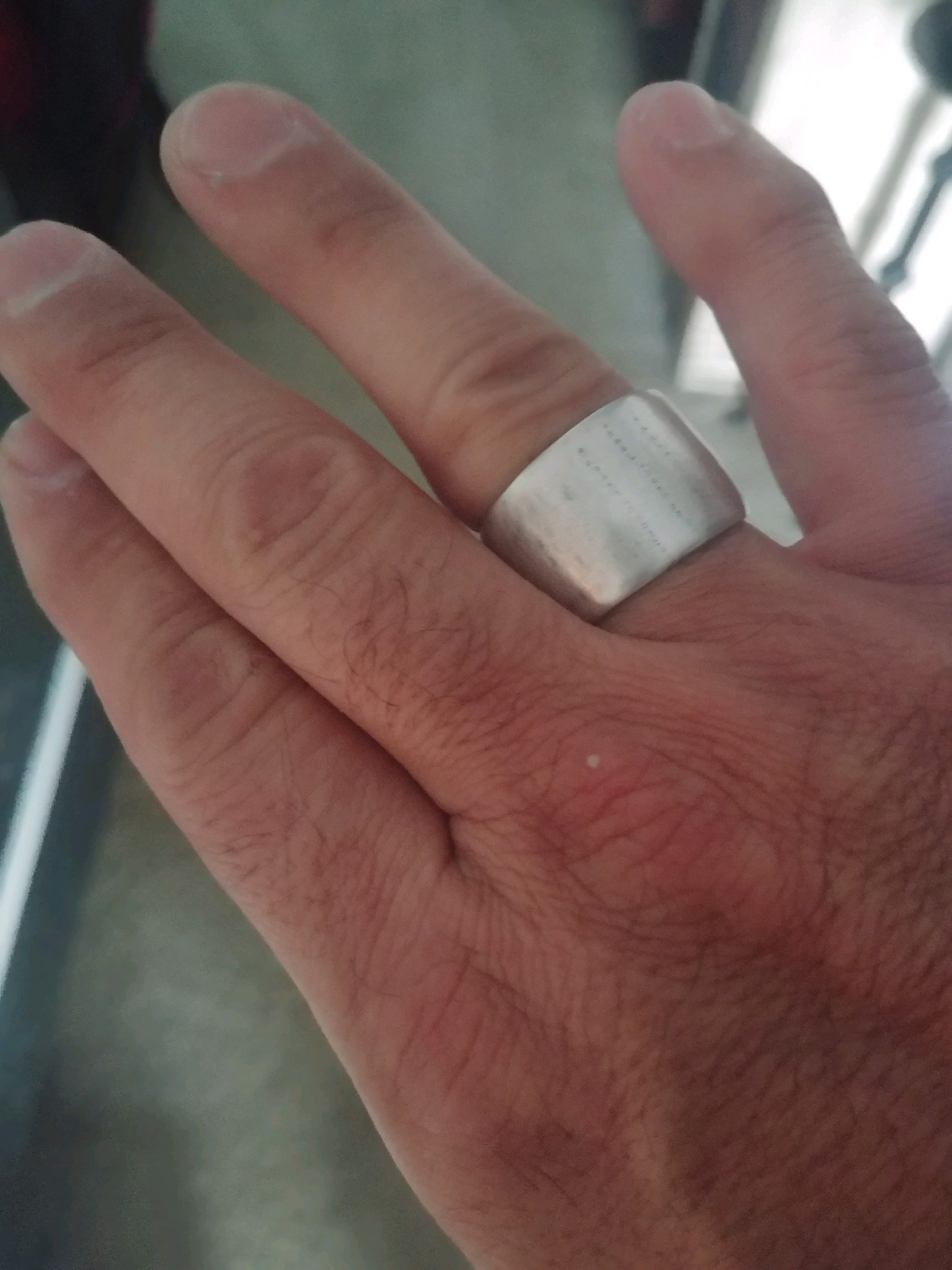 Custom Band with Texture:  Solid Sterling Silver with Rustic Black Finish