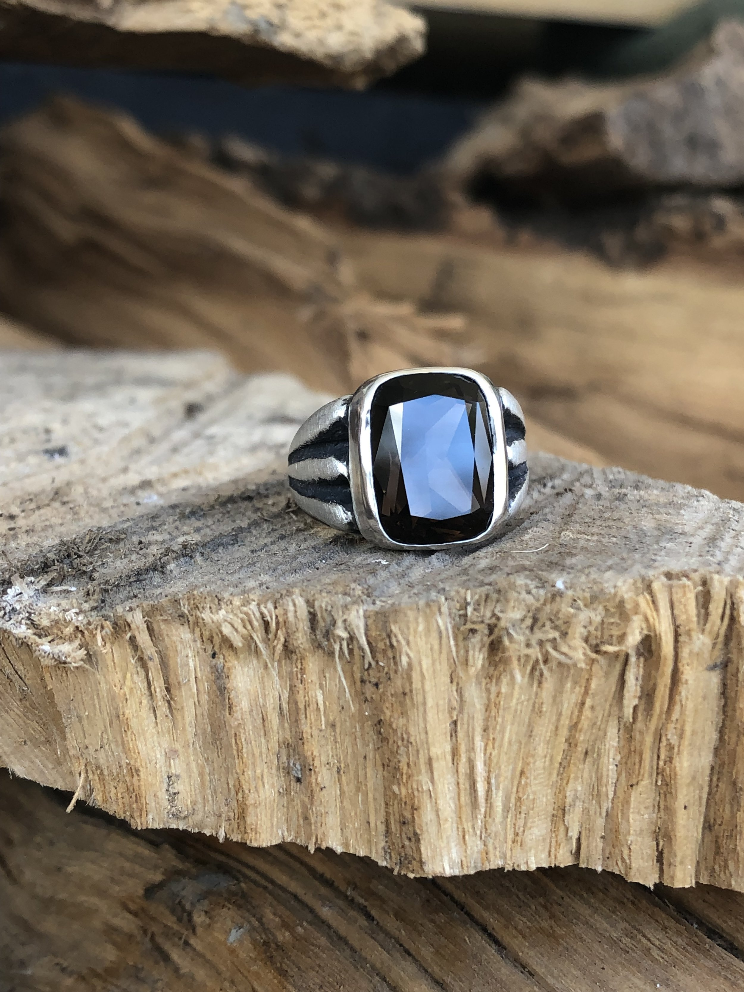 Mother's Ring with Smokey Topaz Stone:  Solid Sterling Silver with Rustic Black Finish