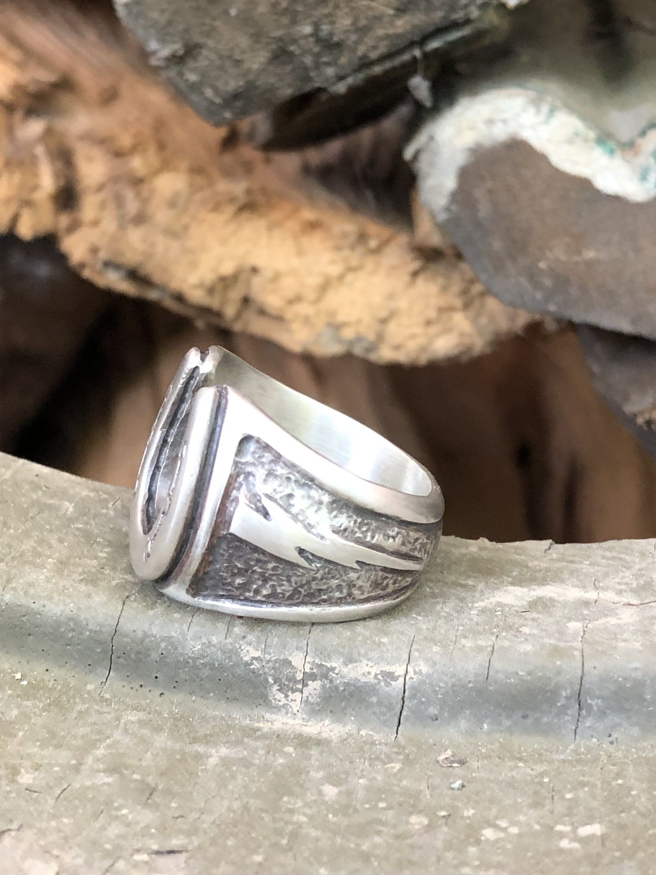 Customized Horseshoe Ring with Lightning Bolt:  Solid Sterling Silver with Rustic Black Finish