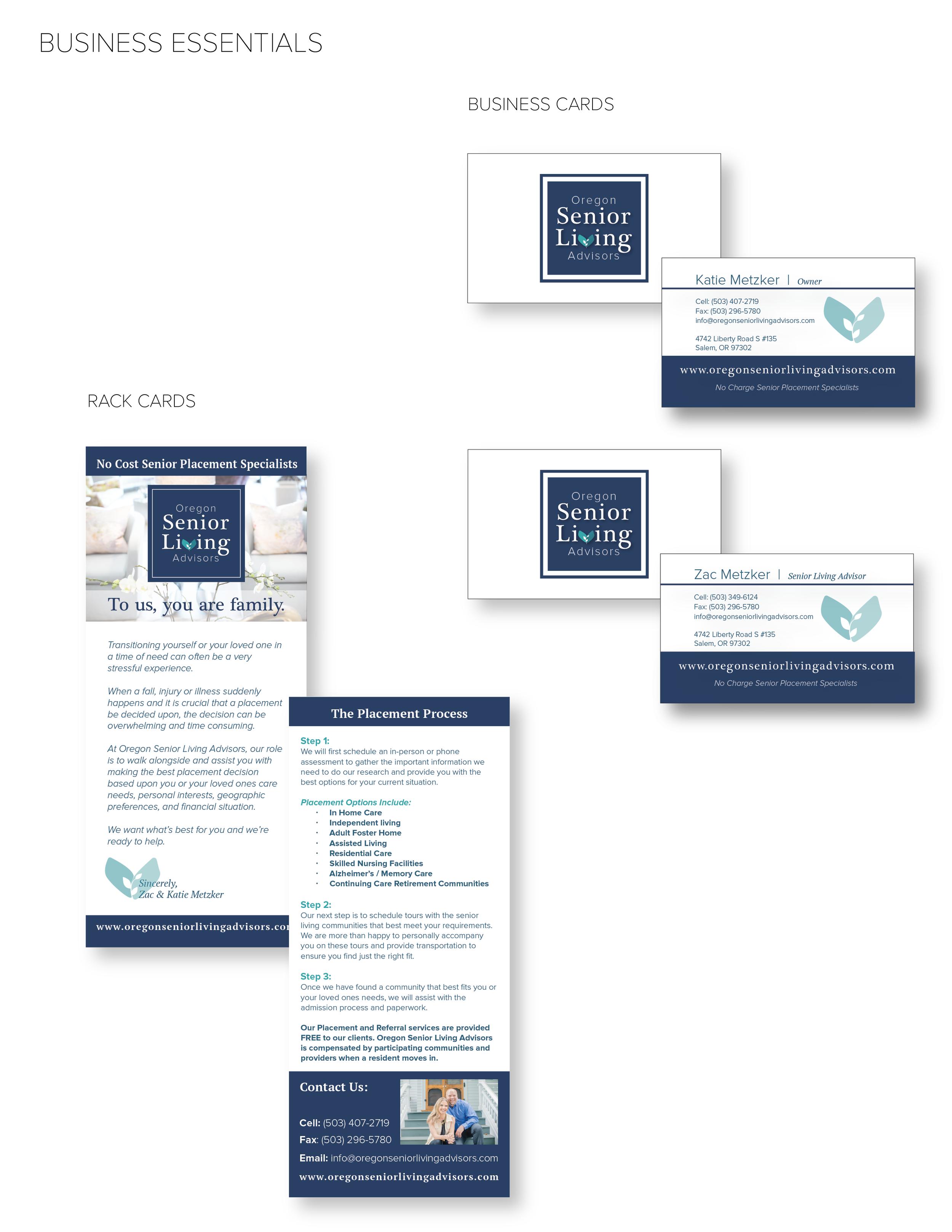 Oregon Senior Living Advisors - Business Cards designed by Brightly & Co