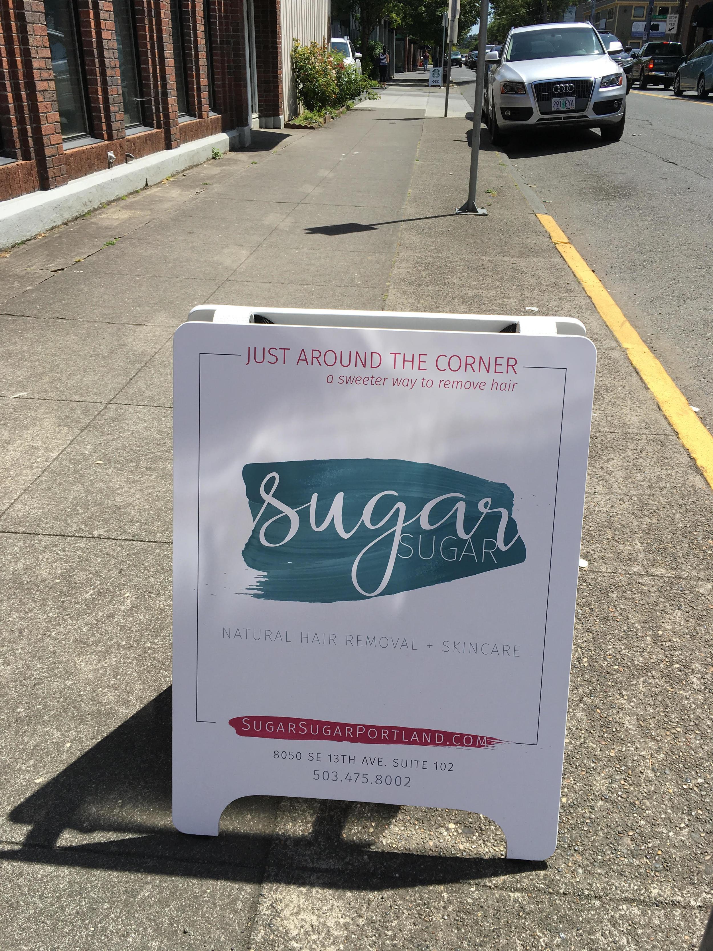 Sugar Sugar Portland, Retail A-Frame Sign designed by Brightly & Co.