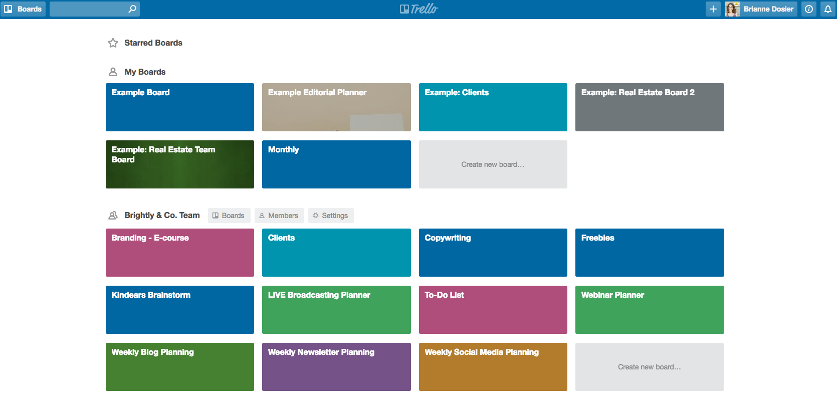 Trello Boards - Brightly & Co.