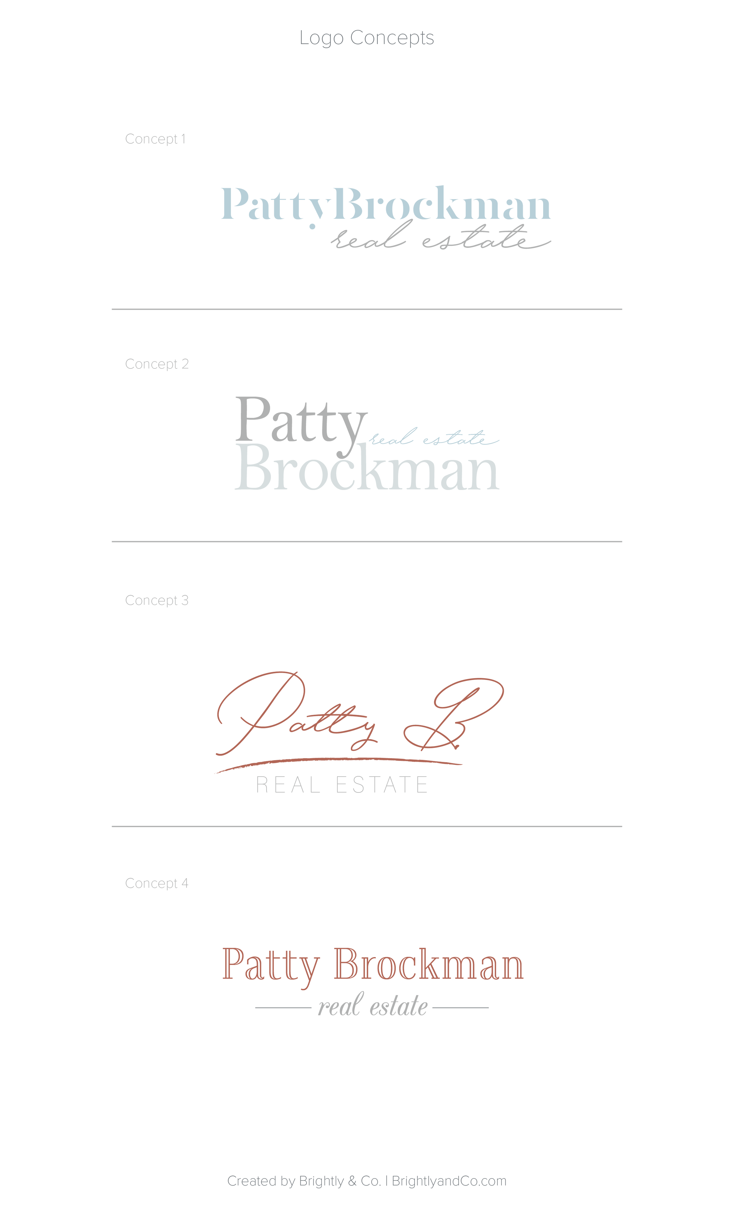 Patty Brockman Real Estate Brand Design (Logo Concepts) by Brightly & Co. | www.BrightlyandCo.com