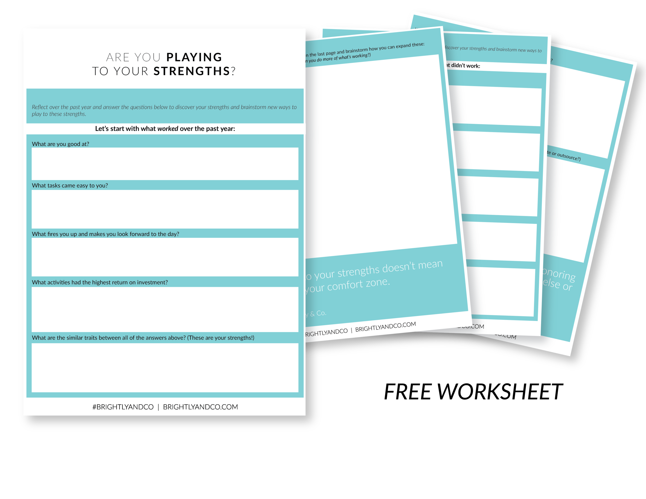 Free Worksheet - Are you playing to your strengths - Brightly & Co.