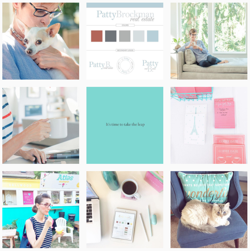 Instagram @BrightlyandCompany ( shows my Brand Design, Branding Photography, Me, Support of local businesses, encouragement and for fun...my kitty ).