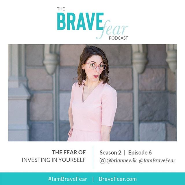 NEW PODCAST EPISODE ALERT! ⠀⠀⠀⠀⠀⠀⠀⠀⠀ In this listener-inspired episode, I talk about the Fear of Investing in Yourself. I wanted to take the time to answer this AWESOME question I received right here on Instagram with a whole solosode. I dive into how we often use money as an excuse to hide our true fears, how the Fear of Failure and Fear of Being Judged can hold us back, and how I want to instead challenge you to believe in yourself enough to put your money and time into those someday dreams. ⠀⠀⠀⠀⠀⠀⠀⠀⠀ Tune in to listen! Link in profile or go to: BraveFear.com
