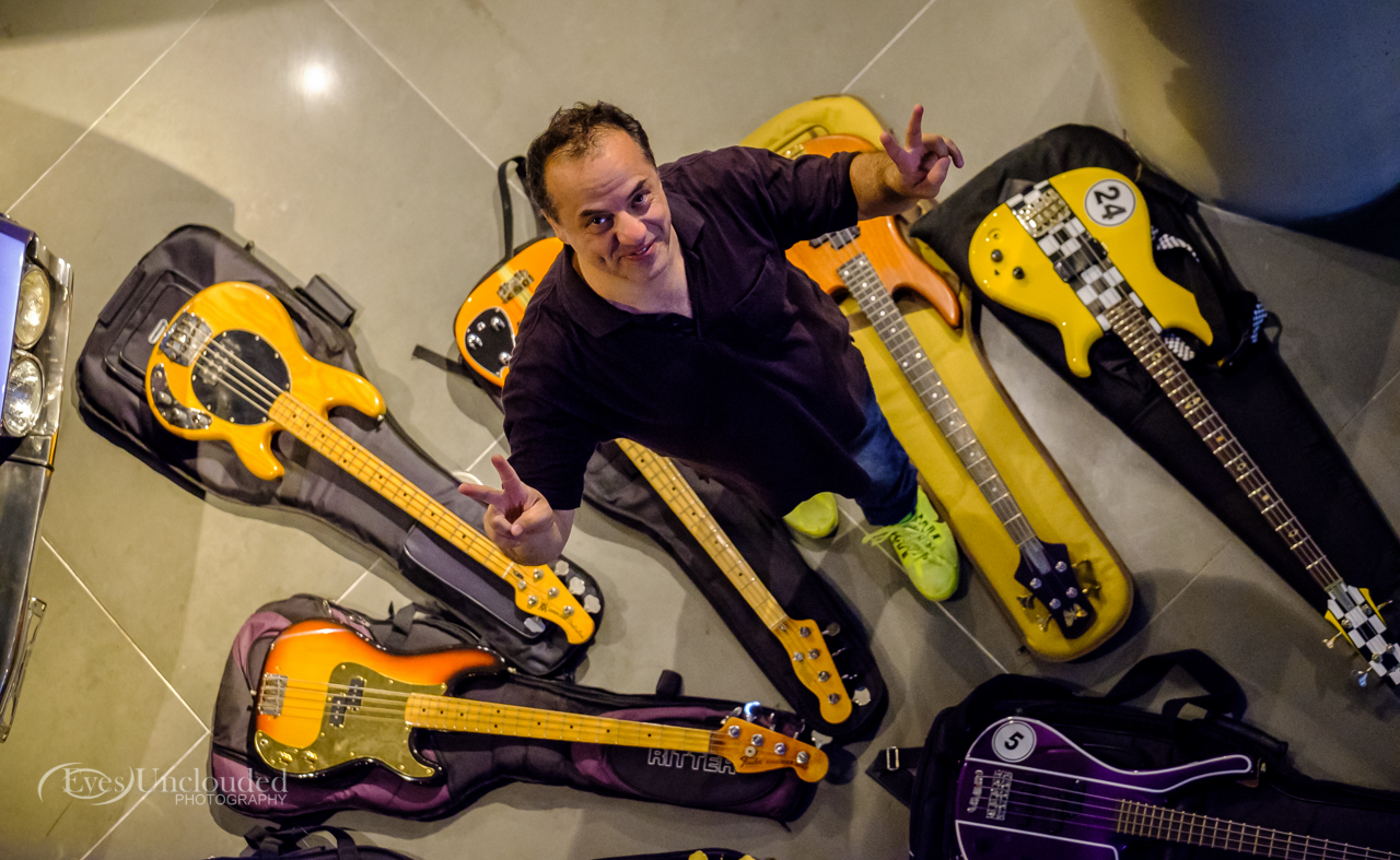 And here is the man himself, John, amidst the swarm of basses used in the photoshoot