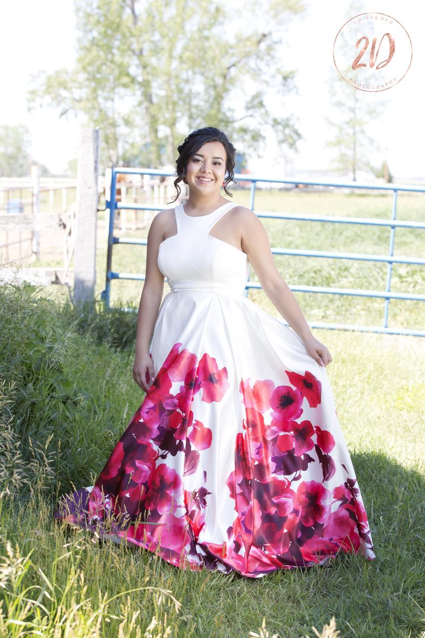Red White Grad Dress Flowers