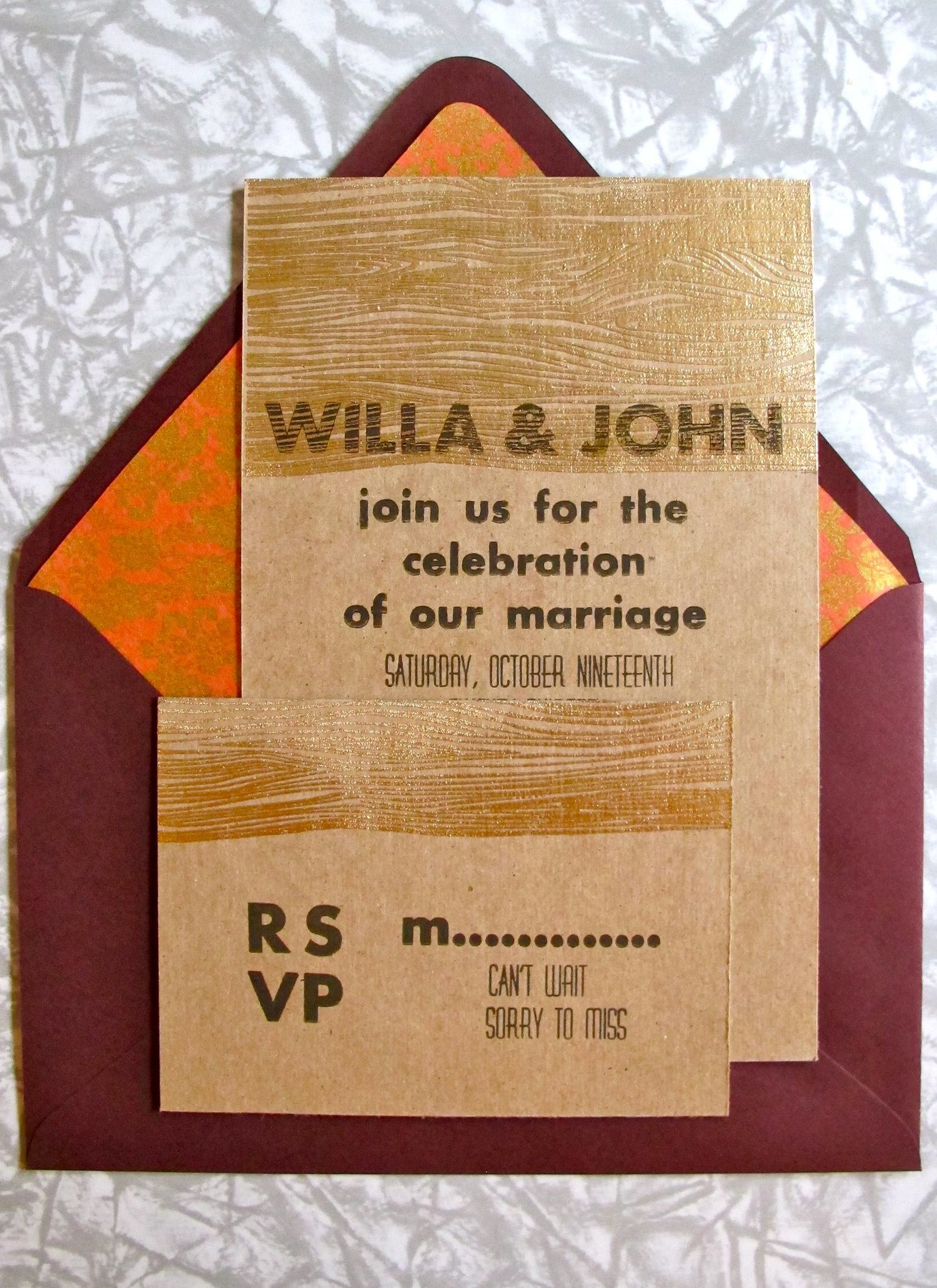 Letterpress invitation and rsvp card with hand embossed woodgrain.
