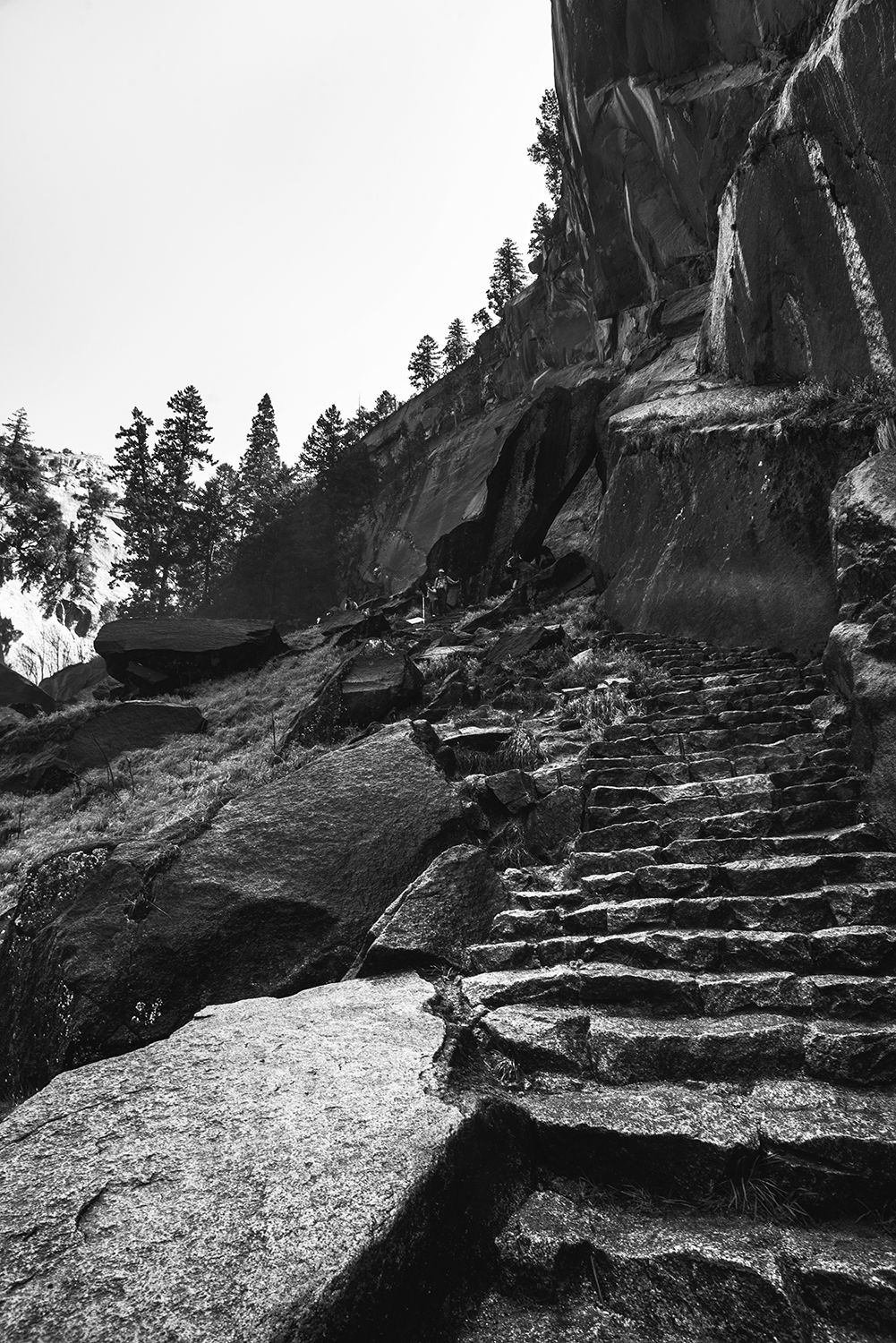 The steps up to Vernal Fall were steep and slippery! It reminded me of photos I've seen of Machu Picchu.