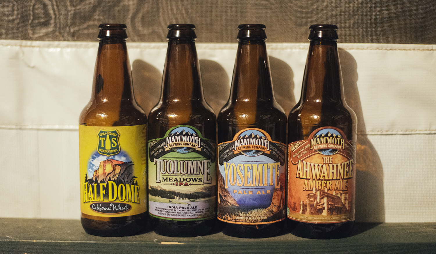 I became a quick fan of Tioga-Sequoia Brewing Co's Half Dome California Wheat beer, and Jake sampled the Mammoth Brewing Co's Yosemite ales and IPA - this was my collection of Yosemite-themed beer bottles by the end of the week.
