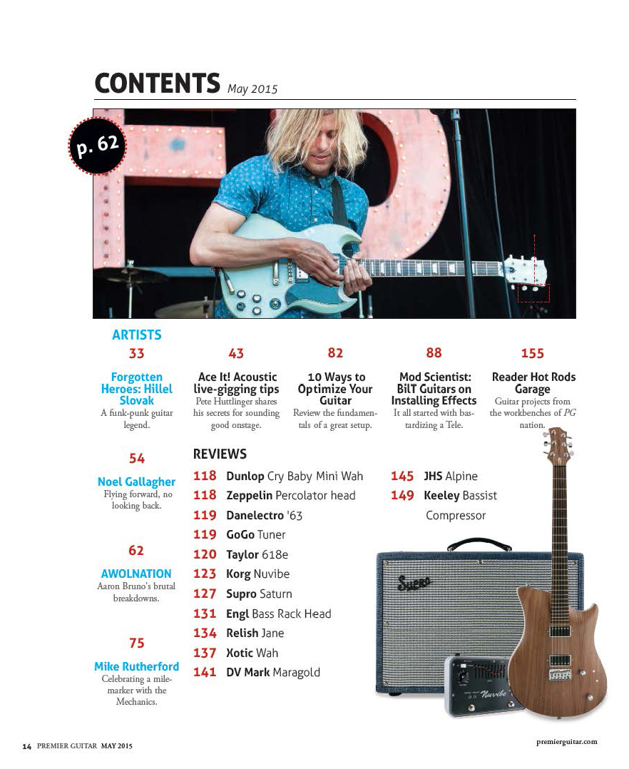 Premier Guitar: May 2015, Table of Contents