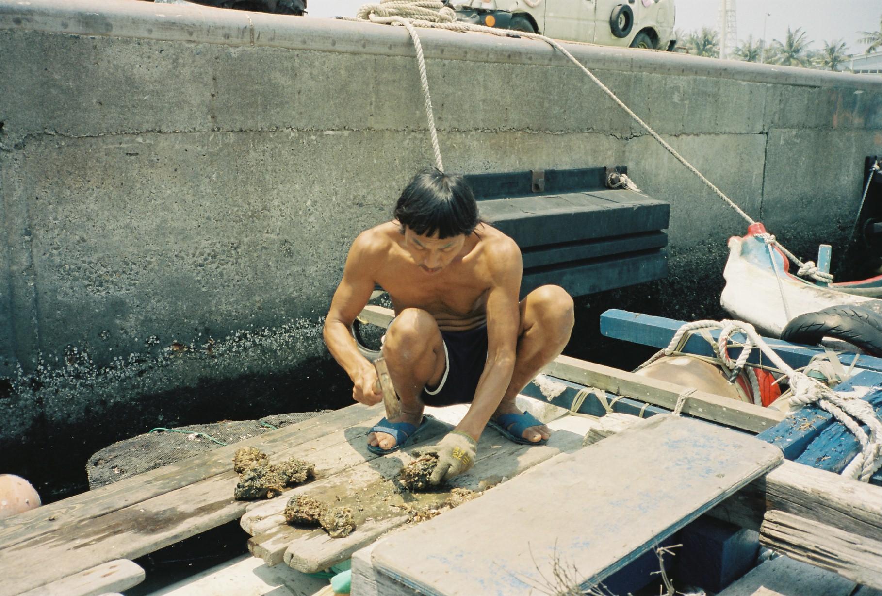 船の家で牡蠣をふるまう