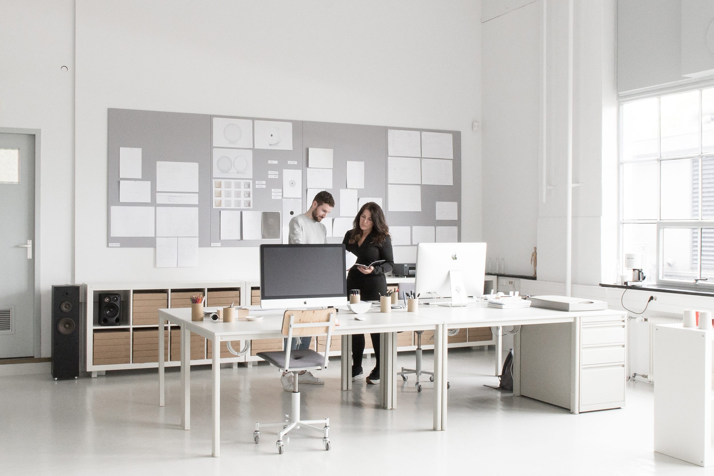 Remi and Jane in the design studio working on a ground-breaking new well-being product for a leading Italian brand.