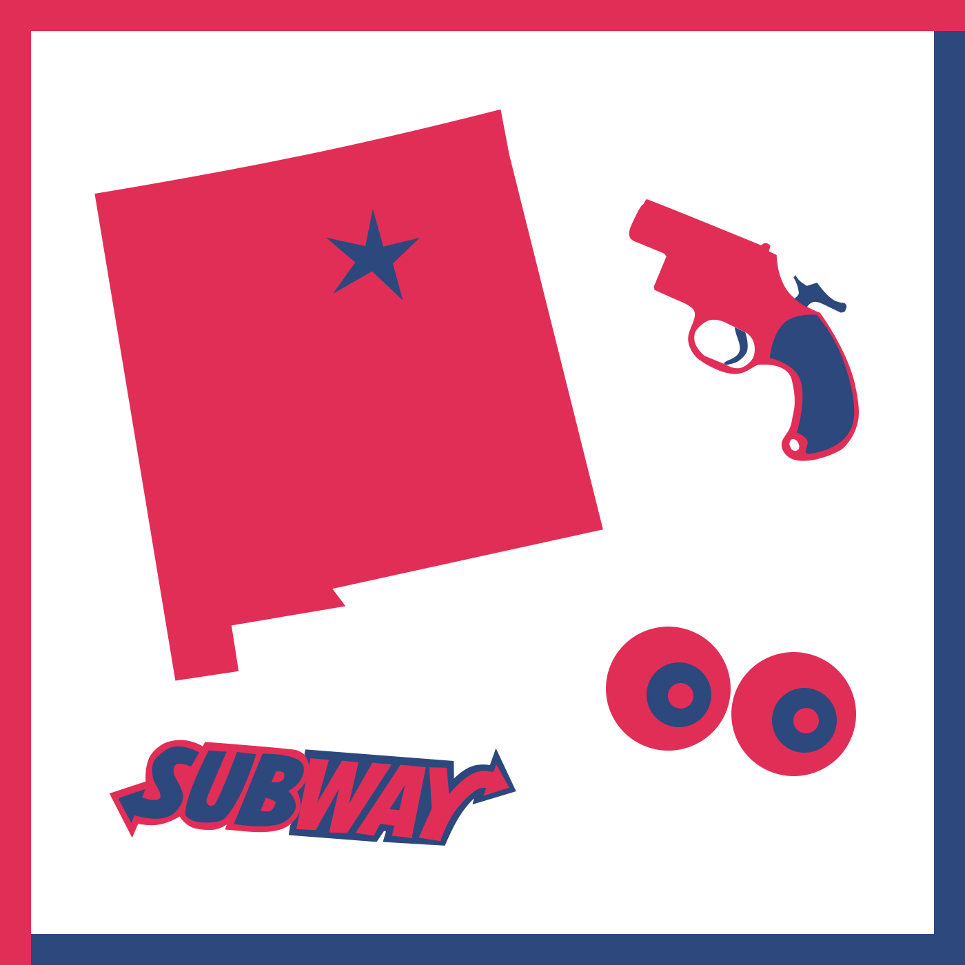 New Mexico (with Santa Fe marked), a flare gun, human eyes, and the Subway logo.
