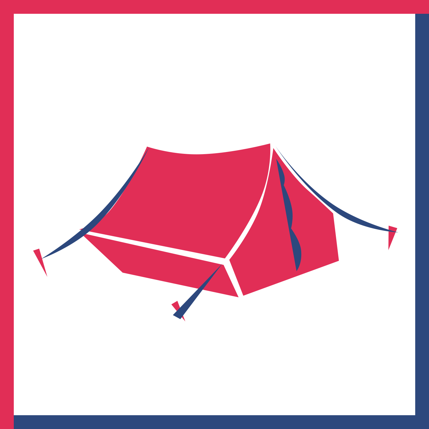 A simple tent, held taut with pegs and rope.