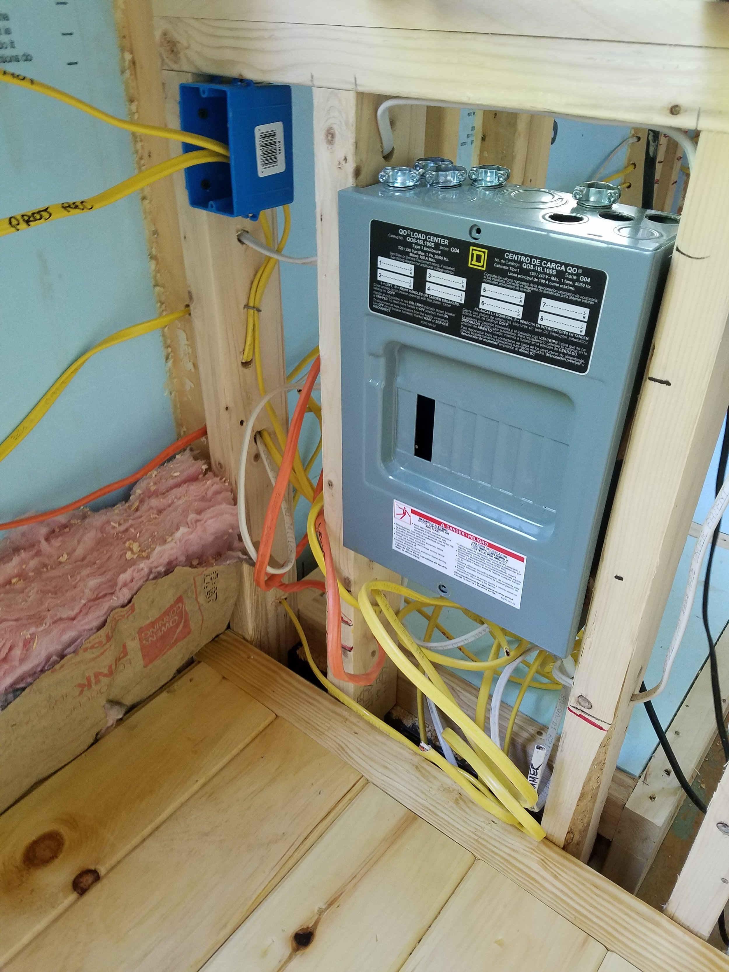 Electricity panel to everything in the house will sit by the kitchen cabinets.