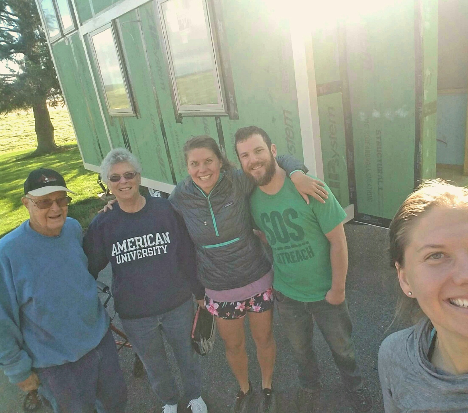 Thrilled that Tiny made the move without incident, Kahla grabbed a selfie with the new build site homeowners, her grandparents, and her sister Alexa and her sister's boyfriend Will. Thanks to all for helping!