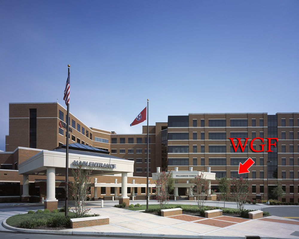 "We are located in the Williamson Tower, attached to Williamson Medical Center. Enter through the exit near the red arrow—not the ""Main Entrance"""