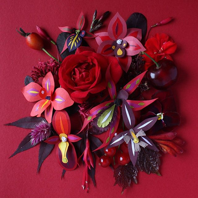 🌹{last one} ❤️Springtime part 3❤️ Rich rose reds and berries ❤️ 🌹 #paperflowers #red #gorgeeporgee