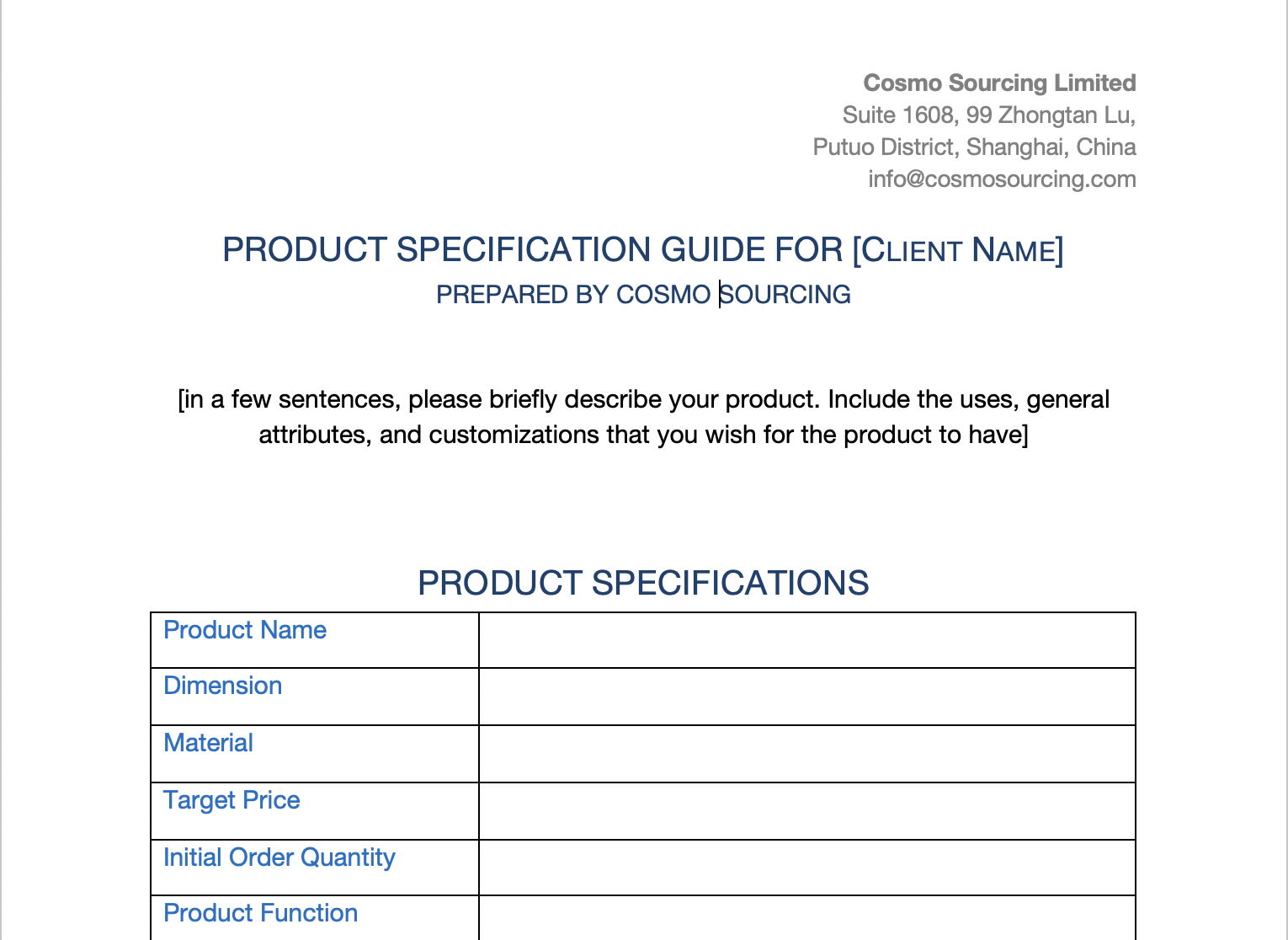 How To Create A Product Specification Sheet For Your Fba