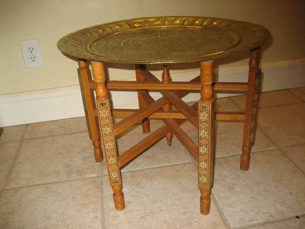 brass inlaid table- $99