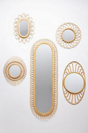 midcentury wicker mirror