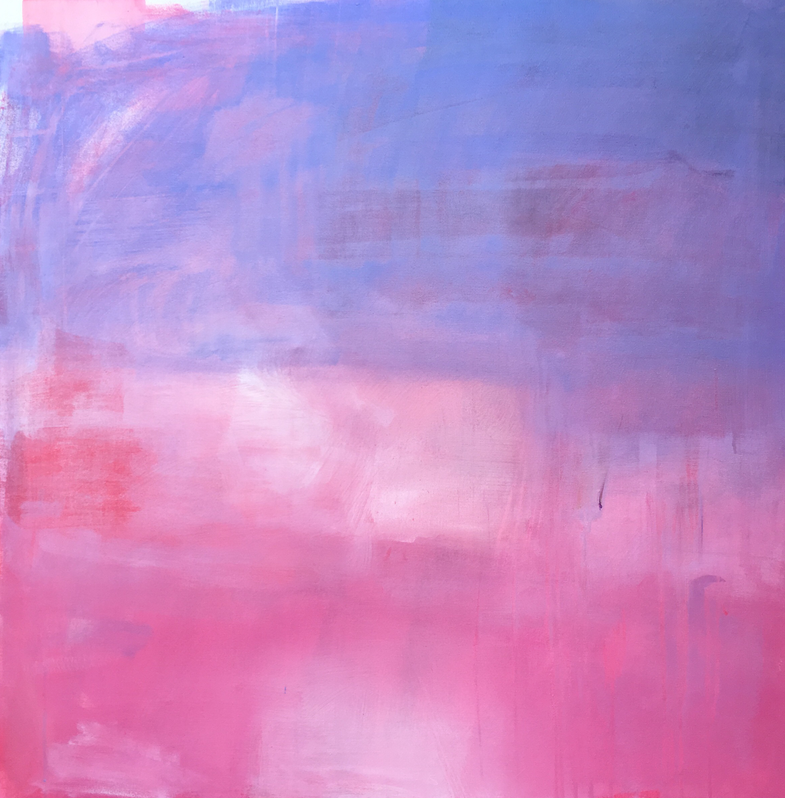 running hot       A pink, rose and blue-violet sunset.   36 x 36