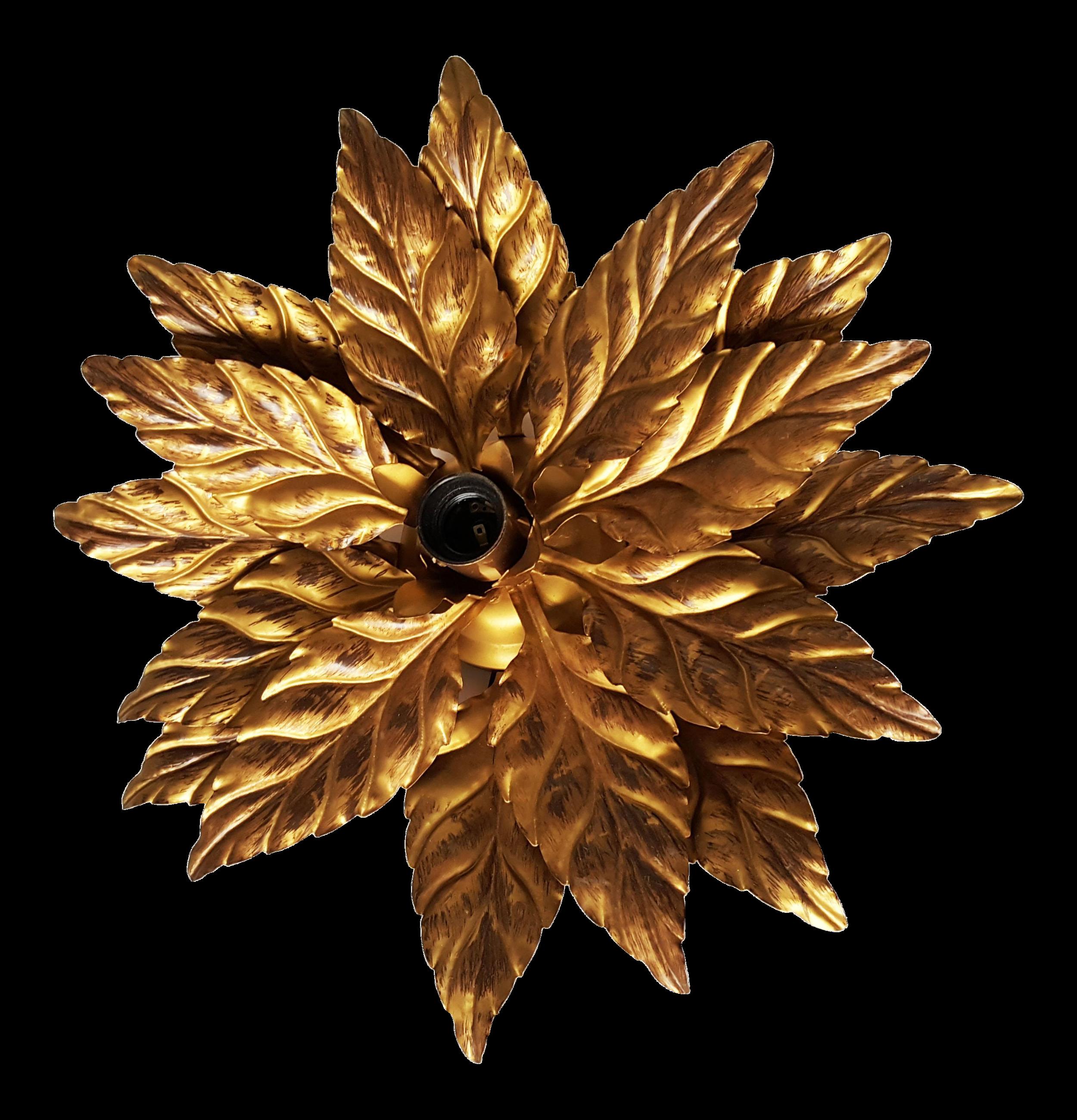 vintage french leaves flush mount