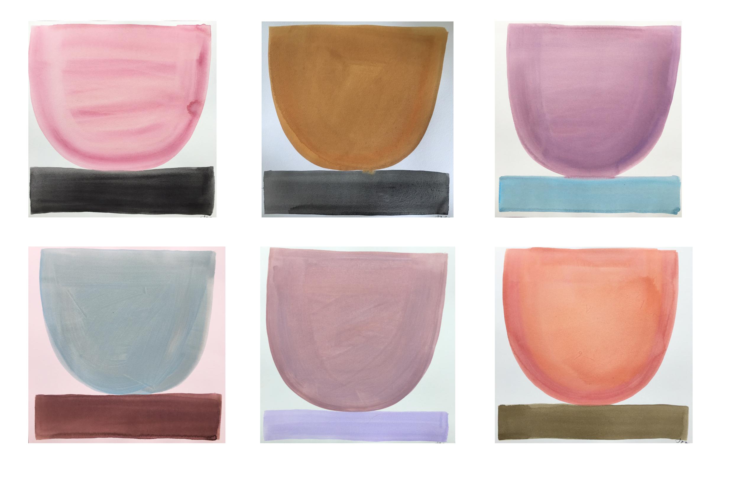 Pastel Bowls Set     (6) 12 x 12 paper