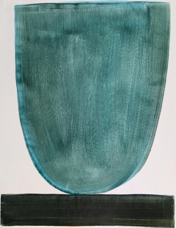 Blue Green Bowl     16 x 20 canvas paper