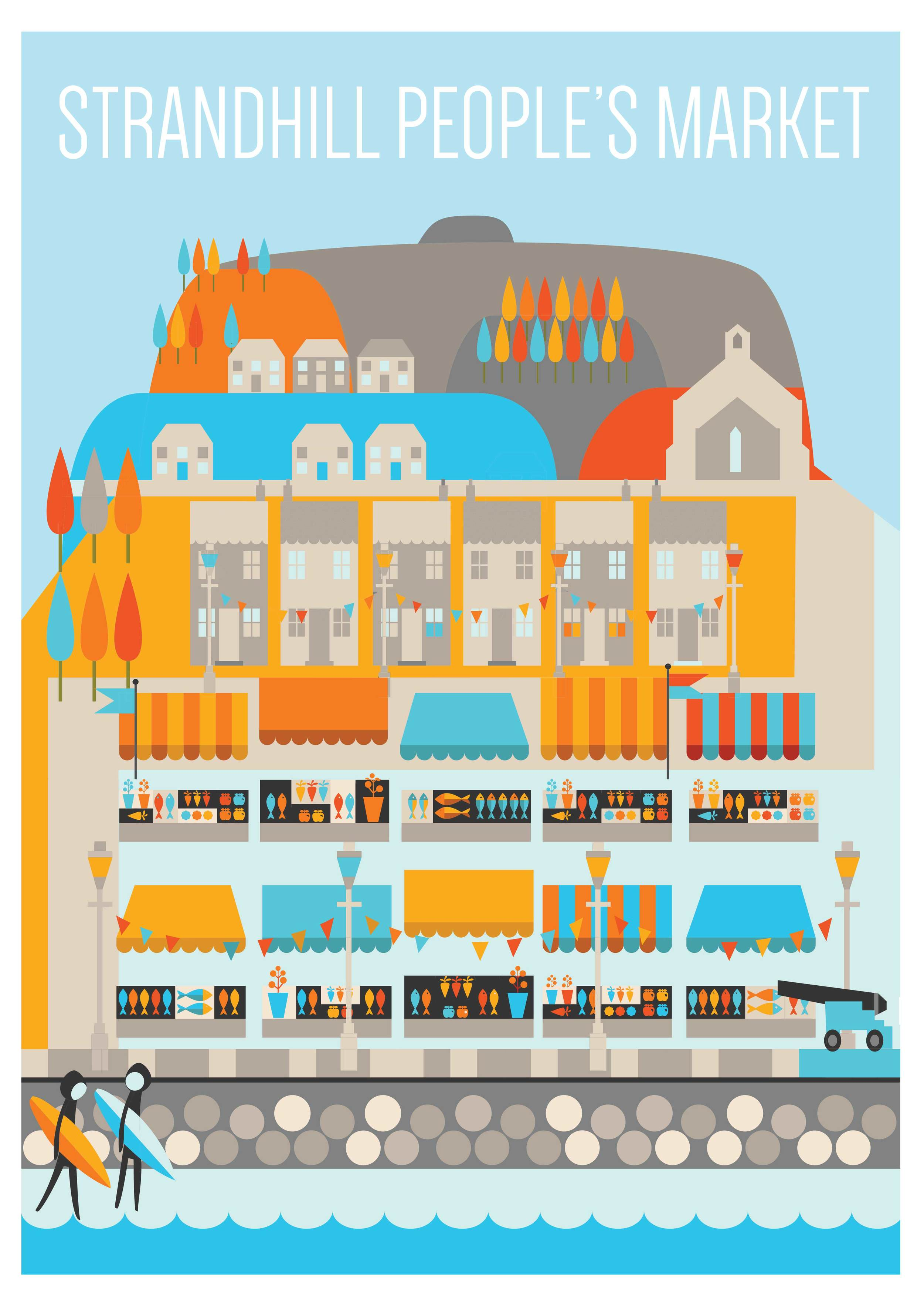 "Commisioned by the good people of ""Strandhill people's market' to illustrate this poster"