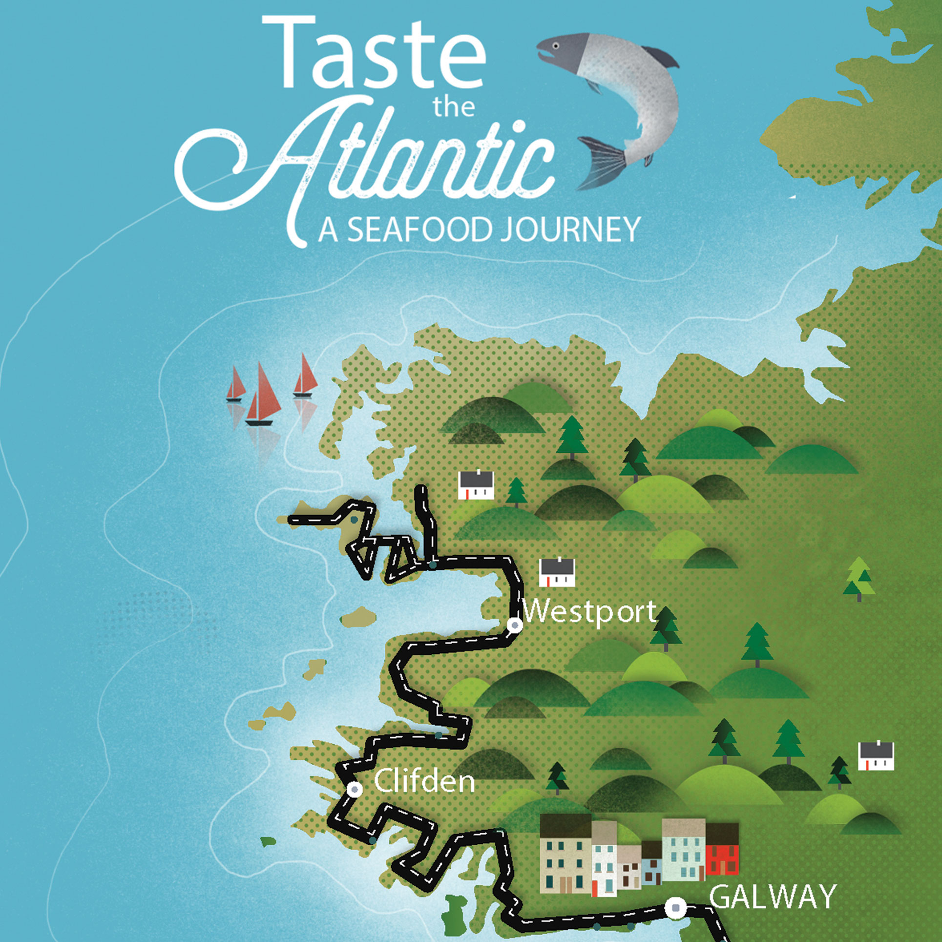 Reddin Designs taste the atlantic map illustration