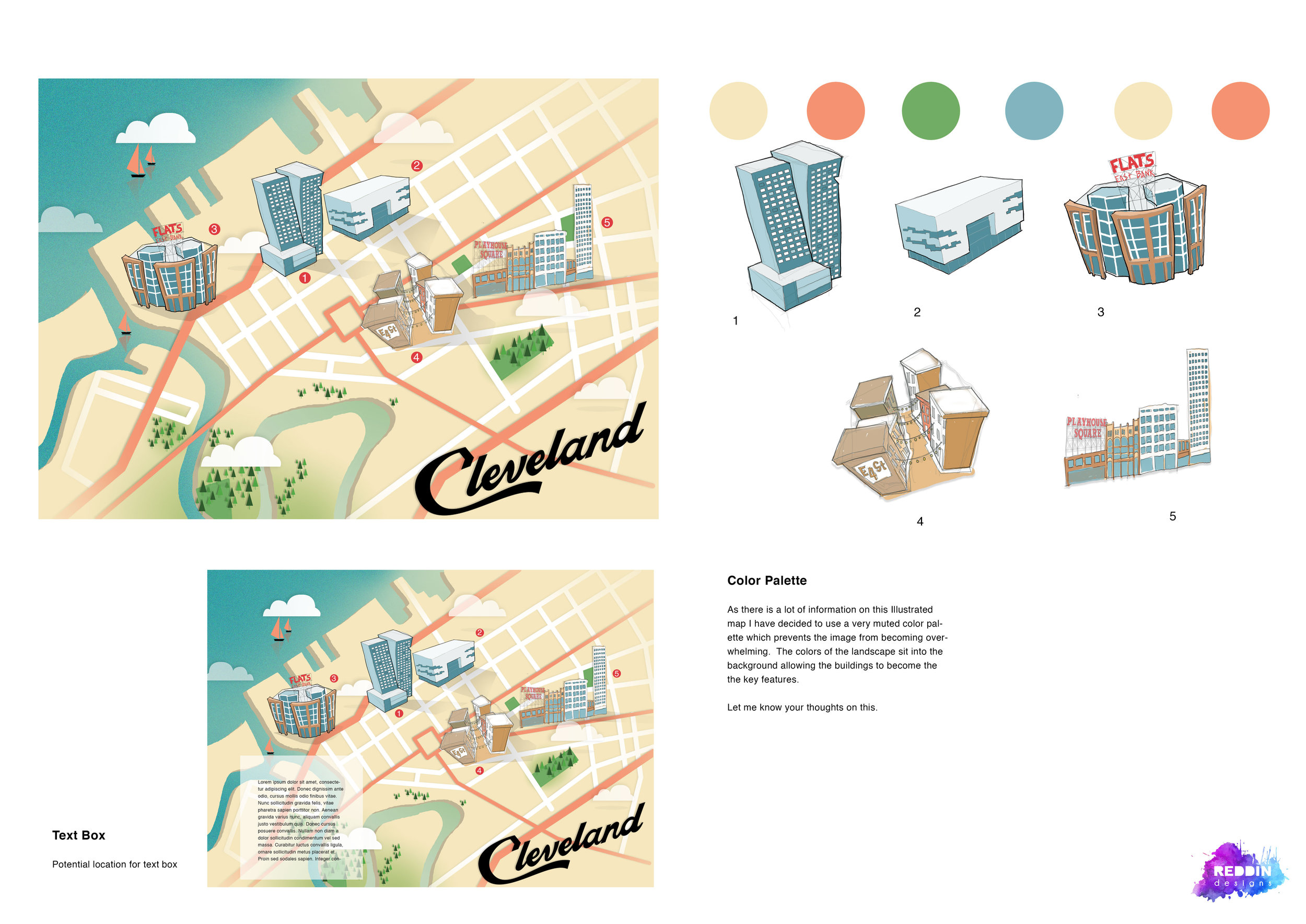 Reddin designs Cleveland map sketch design