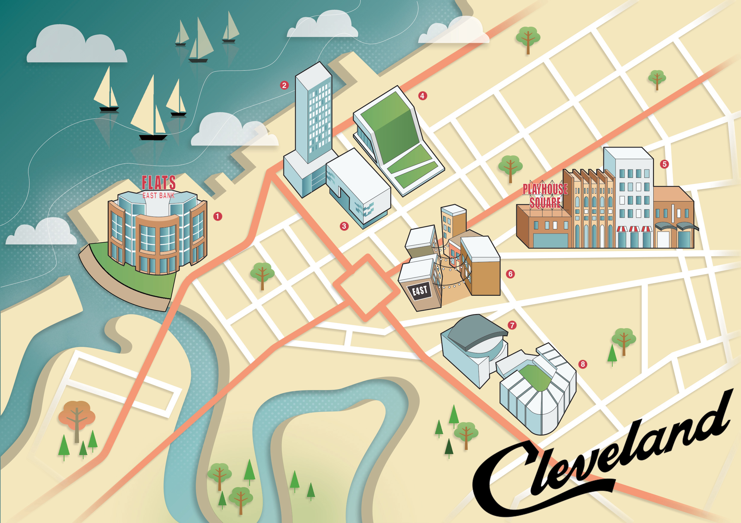 Reddin designs Cleveland map illustration