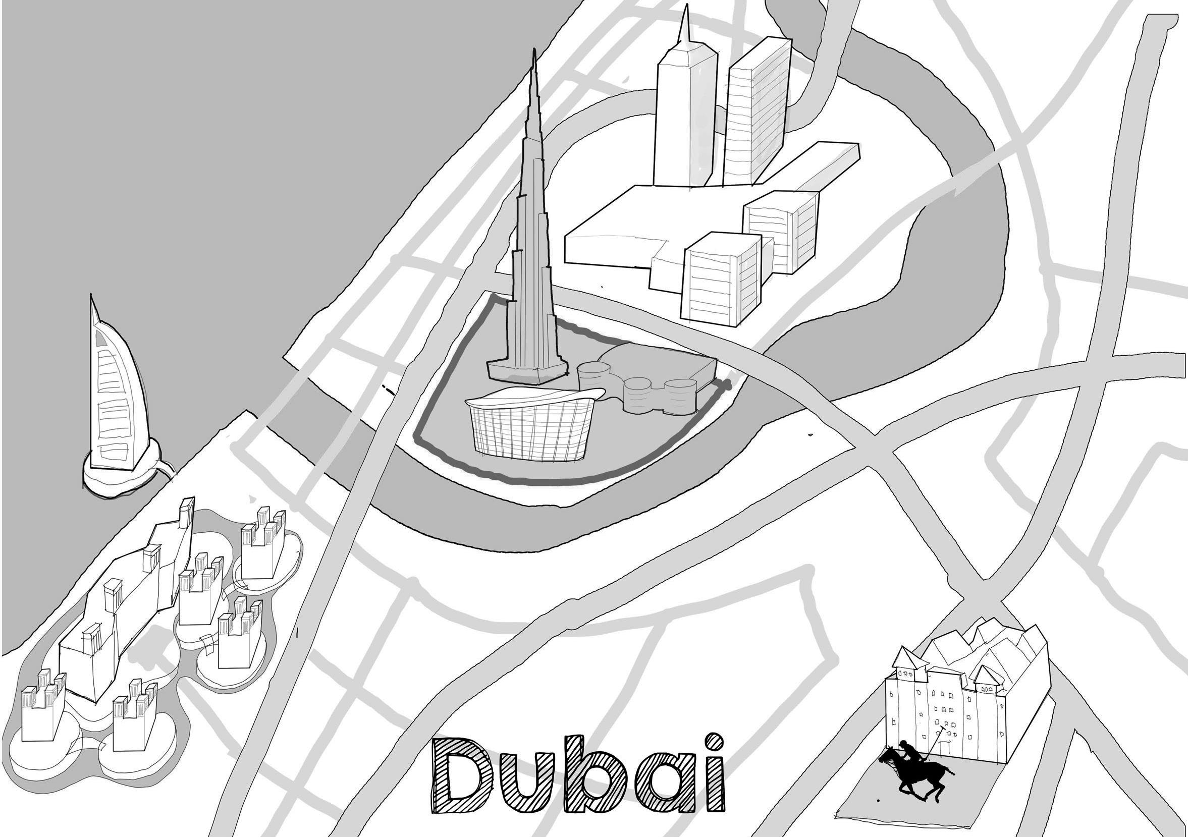 Reddin Designs Dubai Map illustration sketch design