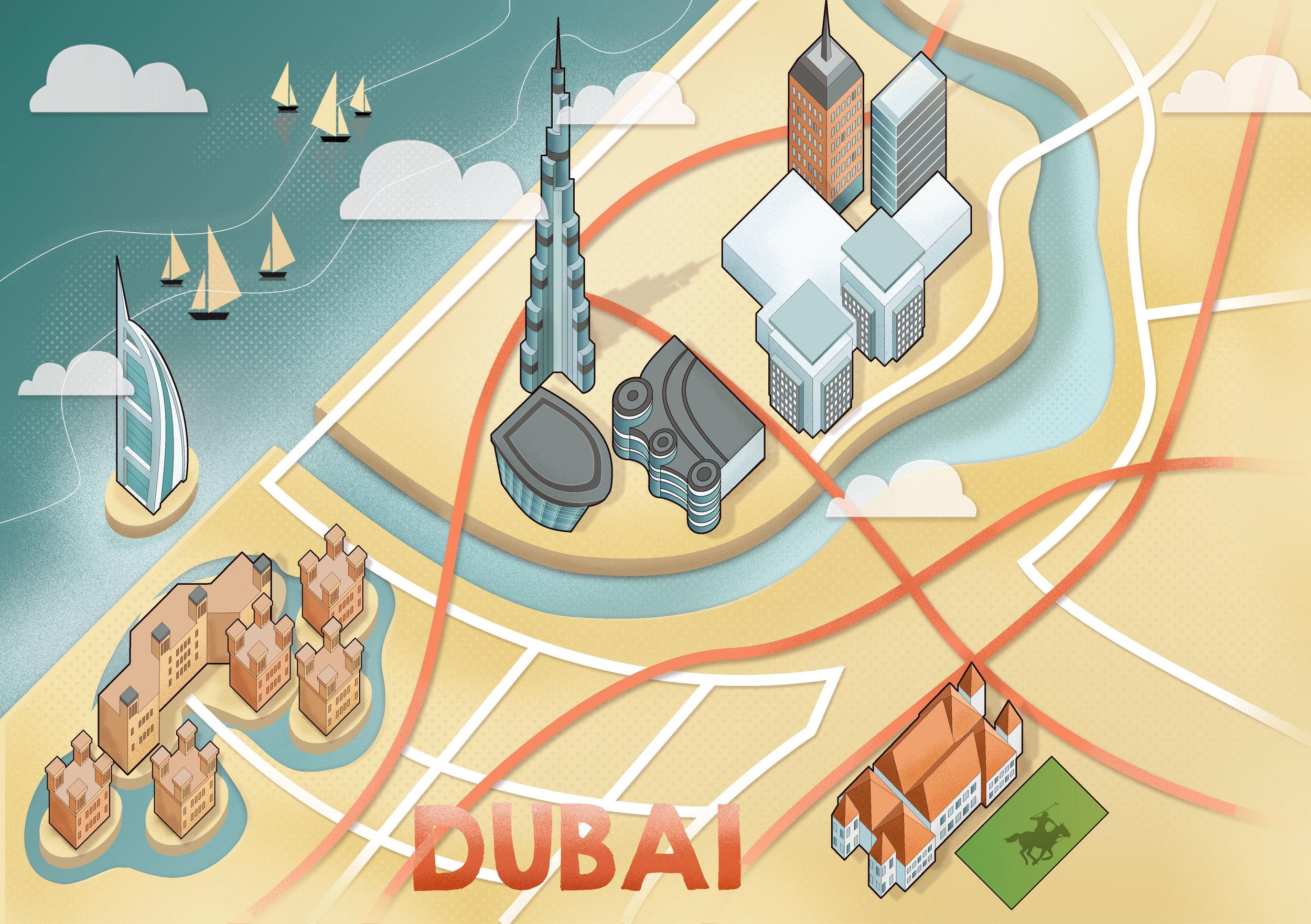 Reddin Designs Dubai Map Illustration editorial