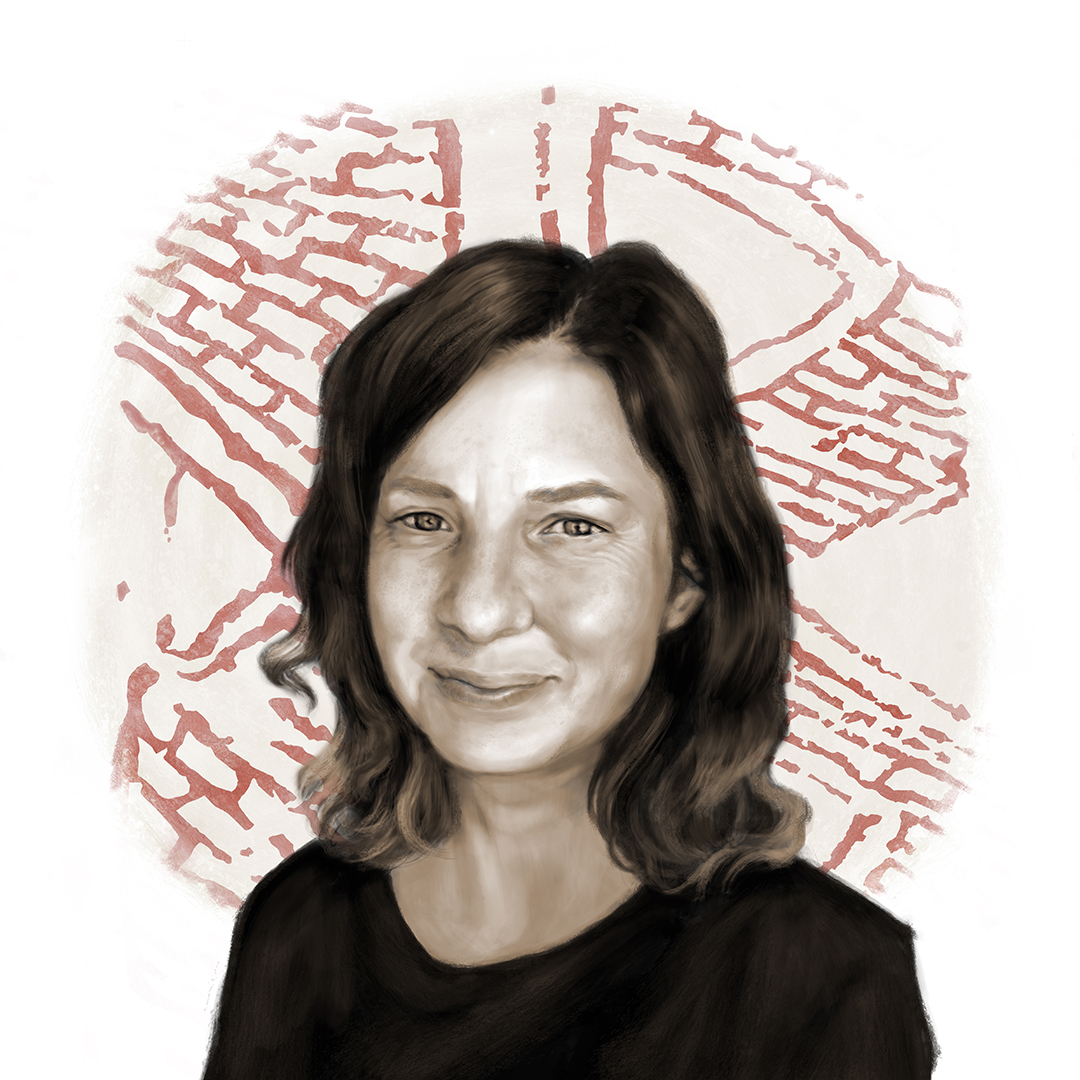 Digital self-portrait of Kathryn Killackey with a wall painting from Çatalhöyük.