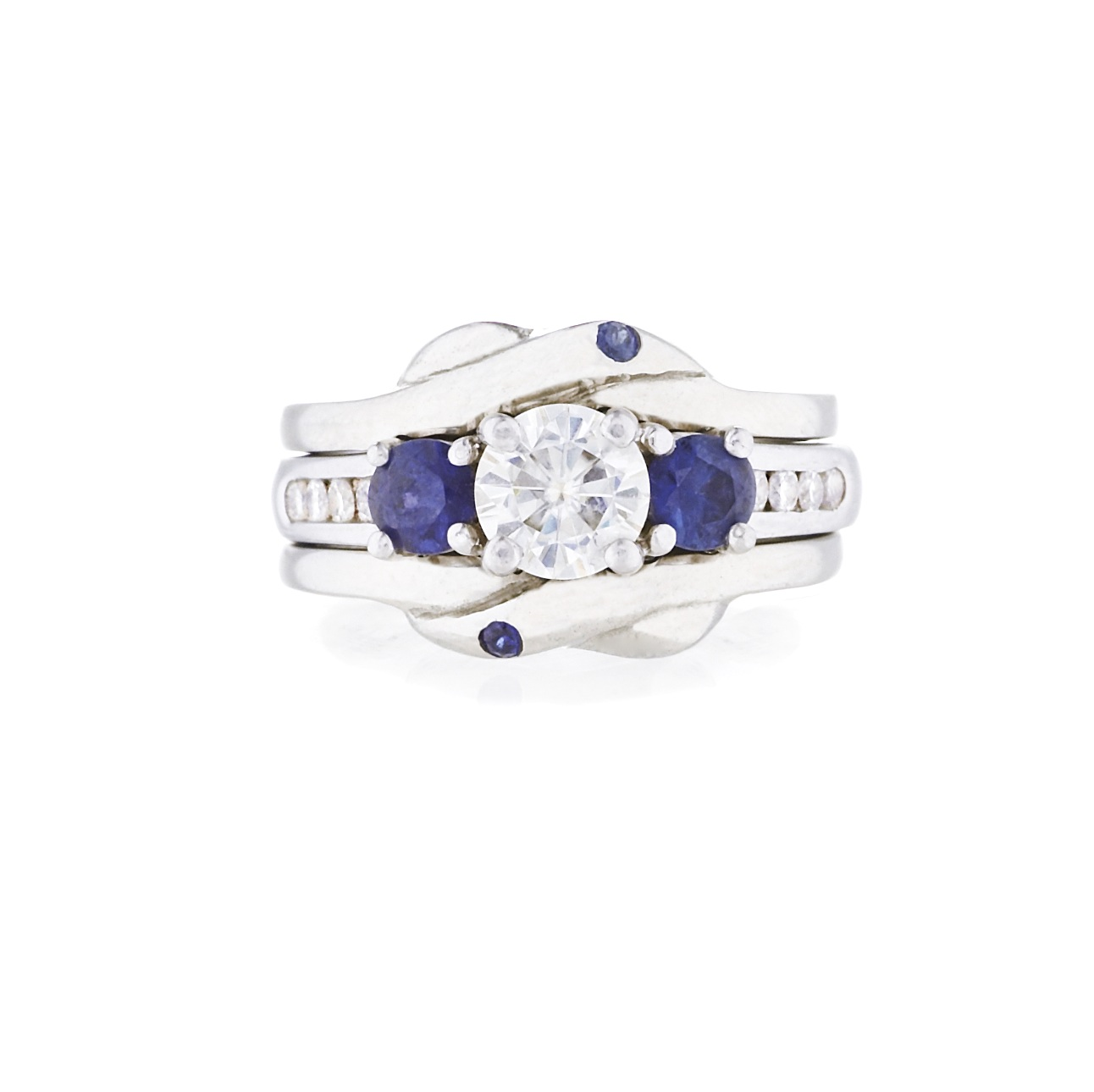 Tara's Custom Stacking White Gold Wedding Bands with Sapphires - 2010
