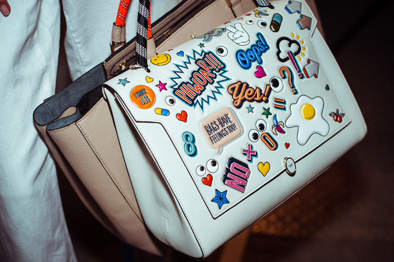 Anya Hindmarch specializes in handbag stickers that allows you to customize your handbags in any way.