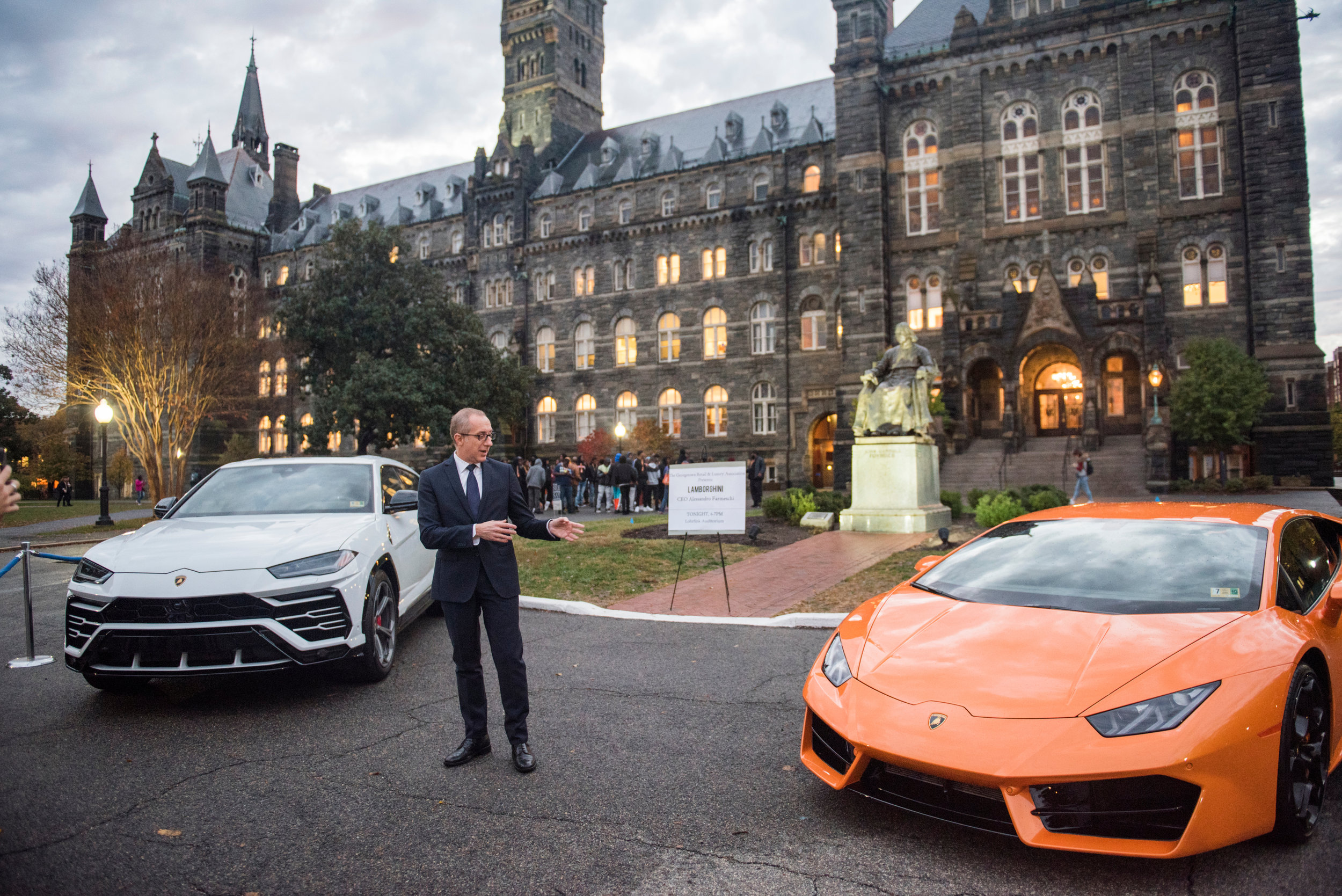 From Left of Image: Urus SUV Model and their Huracan Coupe Model on right.