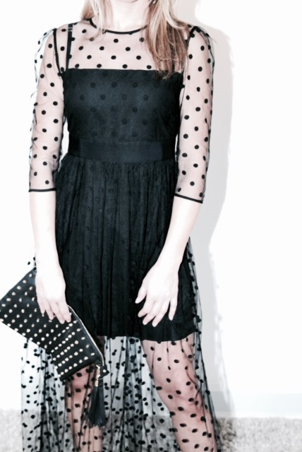 3/4 sleeve spot tulle Temperley dress with waistband sash to hire