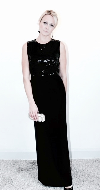 Jonathan Saunders maxi dress with embellished top, column skirt in crepe