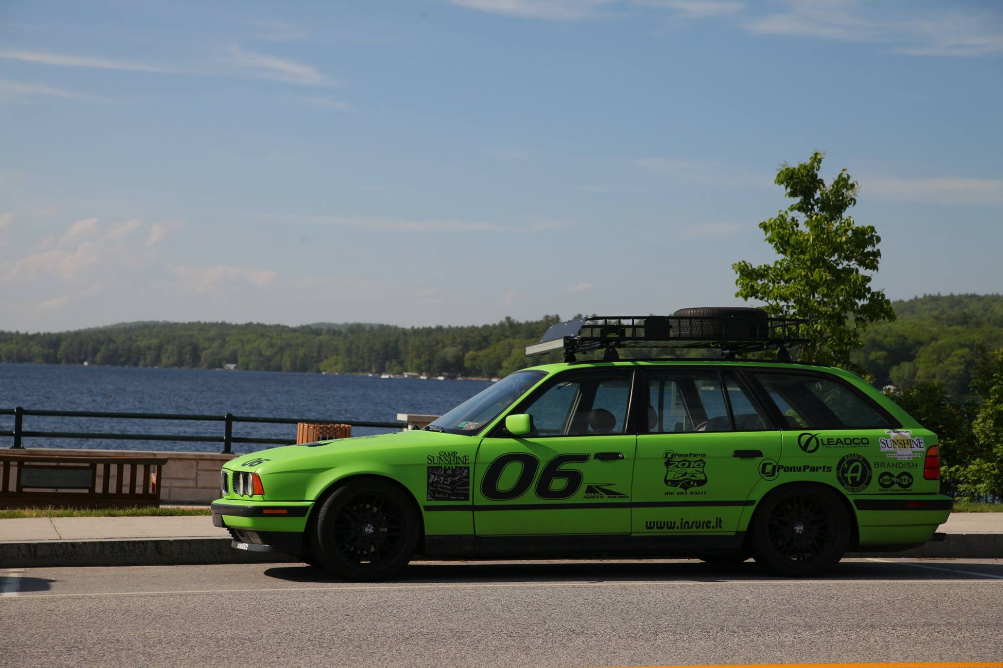 The e34 touring, plasti dipped green at Lake Sebago