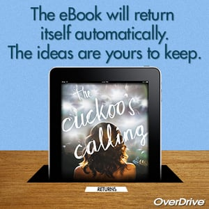 """Image of an eReader stating """"The eBook will return itself automatically. The ideas are yours to keep."""""""